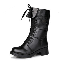 European style cross strap motorcycle boots women shoes Martin boots 2017 new fall winter shoes genuine leather boot women boots