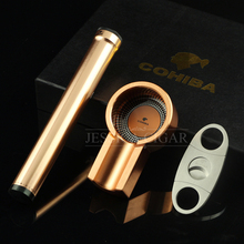Cohiba Elegant Cigar Smoking Gift Set Yellow Mini metal Ashtray Hydrating Tube Holder Portable Humidor Stainless Steel Cutter
