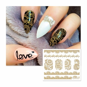 YZWLE 1 Sheet New Fashion Lace Designs 3D Grey Cute Cat Nail Art Sticker Full Wraps Nails Decal DIY  6023