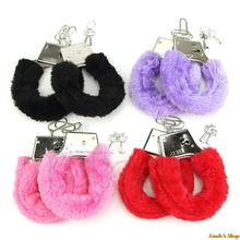 Winter Sexy Stylish Furry Fuzzy Handcuffs Soft Metal Adult Hen Night Party Game Gift
