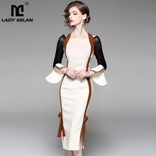 Buy New Arrival 2018 Women's Halter Long Flare Sleeves Sexy Side Split Patchwork Fashion Mermaid Designer Dresses