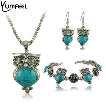 Yumfeel Brand Design Owl Jewelry Set Tibetan Vintage Silver Synthetic Stone Pendant Owl Necklace Earring Bracelet Set(China)