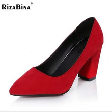 RizaBina women high heel shoes pointed toe suede leather bowknot pumps brand heeled footwear ladies heels shoes size35-39 WD0243