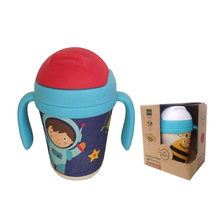 300ml Baby Cups Kids Bamboo fiber straw cup BPA free Portable Bottle Cartoon infant drinking water bottle training cup(China)