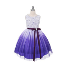 Tulle Girls Dress Gradient color Fashion Summer Party Wedding Princess Kids Toddler Dresses Children Frocks For 2 4 6 8 10 12 Y