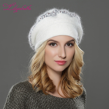 LILIYABAIHE  NEW Style Women winter beret hat knitted wool angora beret  Sttriped Beautifully  decoration cap Double warm hat