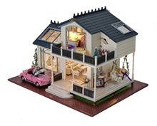 DIY Wooden miniature Dollhouse 3D Kits Provence Hut Model & Furniture show picture & Music box LED Pink Car Model(China)