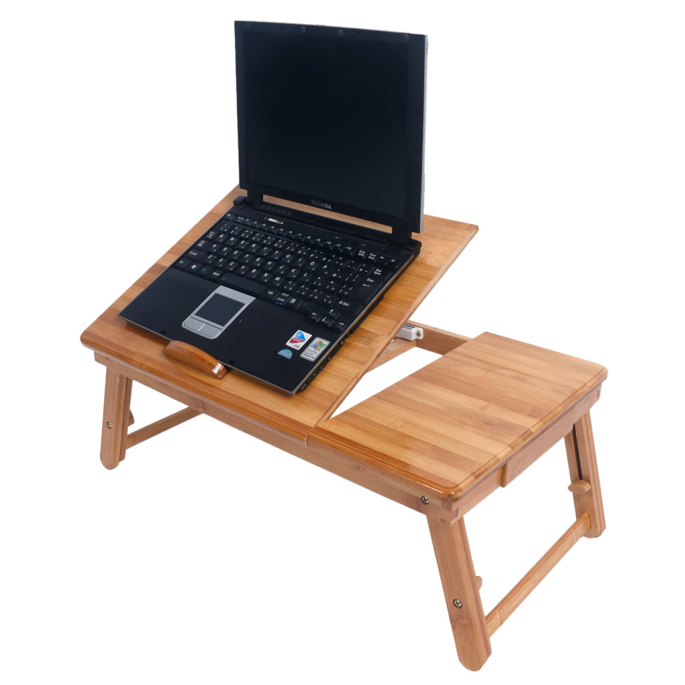 Portable Laptop Desk Folding Foldable Lap Tray Bed Adjustable Table Stand Bamboo US Shipping(China)