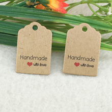 Size:3x2cm kraft tags 100PCS /lot hand made with love kraft Tag for gift box and Paper Cards DIY Gift Tags for Handmade cake(China)