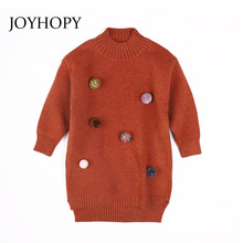 Kids Winter Warm Dress Fashion Girl Sweater Dresses Knitted Long sleeve O Neck High Quality Children Clothing Party Wear Dress(China)