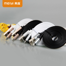 MEIYI Metal Connector Noodle Micro USB Cable Data Sync Charger Cable 2.1A High Speed Android USB Cable for Samsung S4 S3