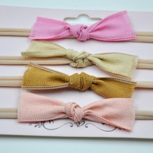 200pcs/lot  Vintage Inspired Headband  Burlaps Bow  Nylon Headbands Newbron Hair Accessories