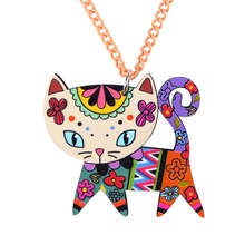 Bonsny Cat Necklace Long Chain Acrylic Pendant  2015 Fashion Jewelry For Women Spring Cute Animal Charm Collar Accessories