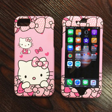 Pink hello kitty case For iphone 7 7plus 360 full body kt cat front back cover For iPhone 6 6splus cute cartoon 2in1 case + flim(China)
