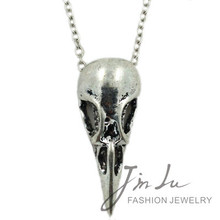 Personalized Vintage Punk Jewelry Necklace Antique Silver Necklace Bird Skull Pendant Necklace Gothic Necklace Free Shipping(China)