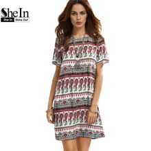 SheIn Casual Dresses For Woman Summer Bohemian Ladies Vintage Multicolor Print Round Neck Short Sleeve Shift Dress
