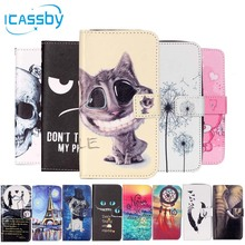 Cute Cat Mobile Phone Etui For Coque LG K8 Case Leather Wallet Flip Cover For LG K8 lte 4g K8lte K350e K350n K350 Dual Capinha(China)