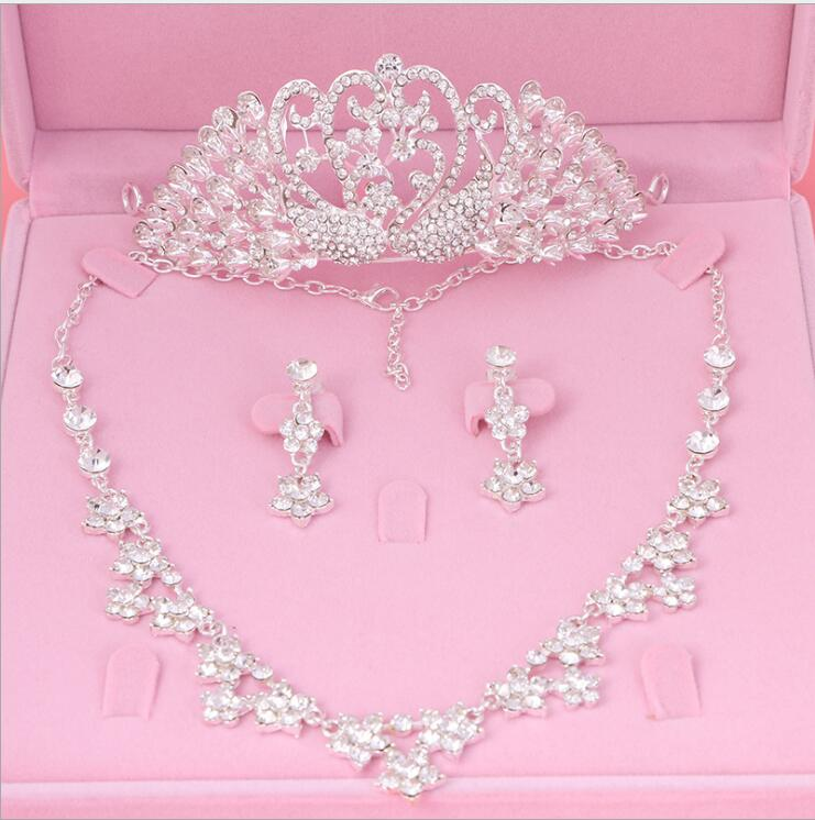 Womens Crystal Pearl Jewelry Hair Crown Headpiece Necklace Pendant Earrings Sets (11)