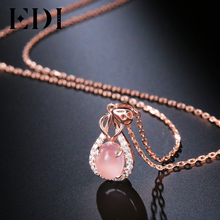 EDI Trend 2CT Rose Quartz Crystal 925 Sterling Silver Female Fashion Engagement Pendant Necklace For Girls Jewelry Gift(China)