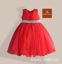 Wholesale Baby Girls Beading Belt Clothes Kids Solid clothing Childrens Tutu Dresses 3-8T 2 colors 1113-3
