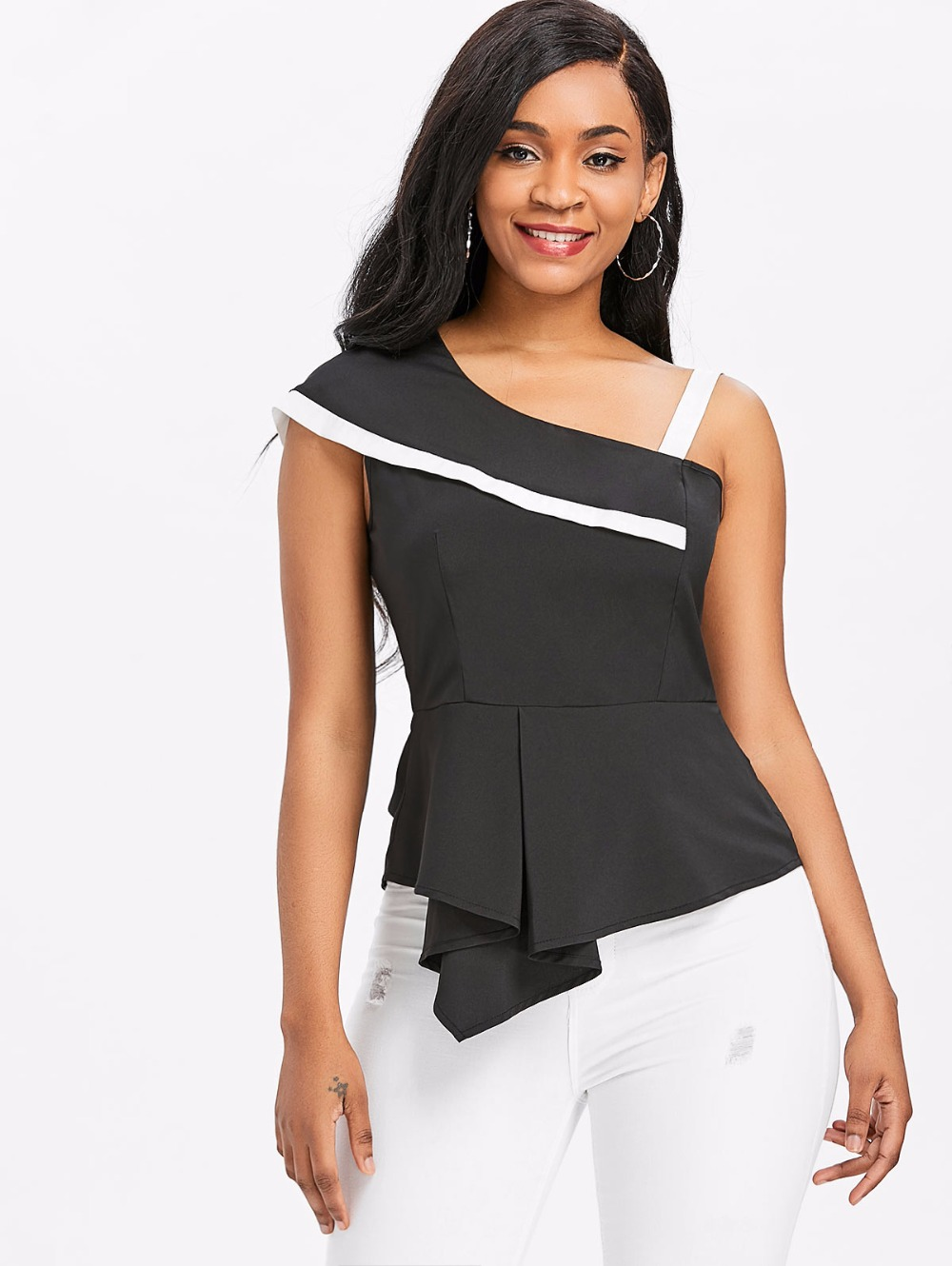 VESTLINDA One Shoulder Skew Neck Peplum Asymmetrical Black Blouse Womens Tops and Blouses Summer Top 2018 Clothes Blouse Shirt 1
