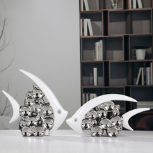 Bouble Couple Kiss Fish Vase Modern Ceramic Furnishing Articles For Living Room Home Decoration Silver Bubble(China)