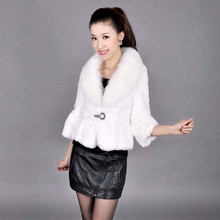 VK0005 Lady Genuine Whole-hide Rabbit Fur Jacket with Big Fox Collar Women Slim Outerwear Coats in stock OEM