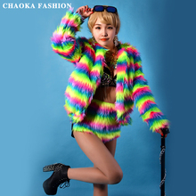 Hip-Hop Baseball Feather Jacket Costume Mulitcolor Nightclub Singer DJ Imitation fur Bar Stage Wear Outfit Jazz Dance Costumes