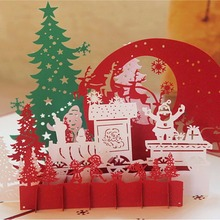 12 Style 3D Christmas Cards Greeting Handmade Paper Card Personalized Keepsakes Postcards For Xmas Wedding Birthday Decor(China)