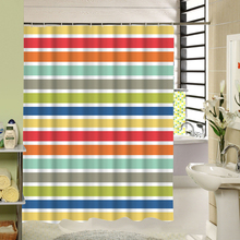 Polyester Geometric Stripe 3d Shower Curtain Gray Rainbow Color for Bathroom Wet Room Decorative Fabric Curtain Set with Hooks