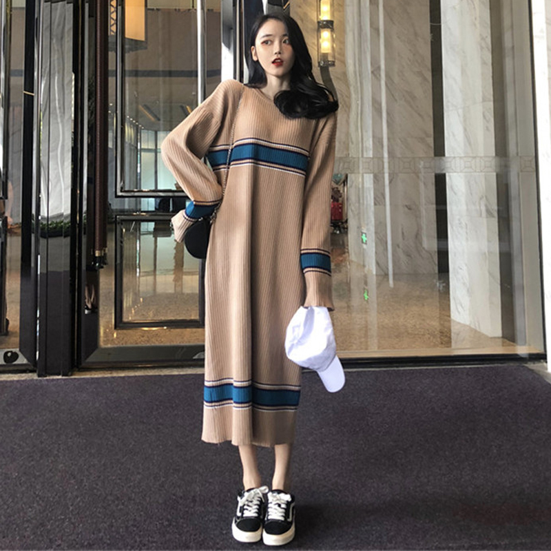 2018 Autumn and winter women's Korean version of the long loose long-sleeved knit  gentle wind dress sweater dress