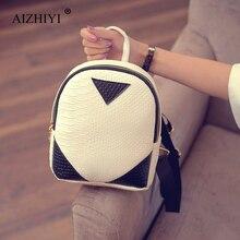 Women Mini Backpack Cute Backpack Children Teenagers School Bags Crocodile Triangle Style PU Leather Backpack Girls