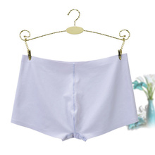 Buy Women Seamless Boxer Panties Solid Underwear Boyshort Skin-Friendly Breathable Panties Ladies Sexy Health Hot Underwear Ice Silk