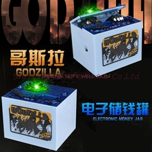 Free Shipping 2017 new Godzilla Movie Musical Monster Dinosaur Moneybox Moving Electronic Coin Piggy Bank Kid Money Saving Box