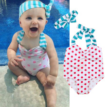 2017 new baby one piece swimsuit girls dots biquini pink swimwear striped swimming headwear swim clothing bathing suit headband(China)