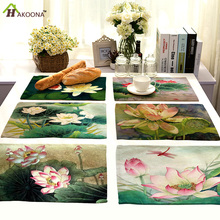HAKOONA 4 Pieces Placemats Lotus Oil Painting Printed Table Napkins Cotton Linen Fabric Table Decoration Tea Towels 42*32cm