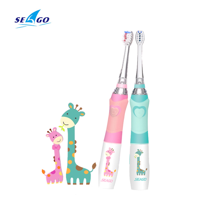 Seago Kids Sonic Electric Toothbrush Colorful Led Waterproof Soft Massage Children 1 Handle + 2 Teeth Brush Replacement Heads