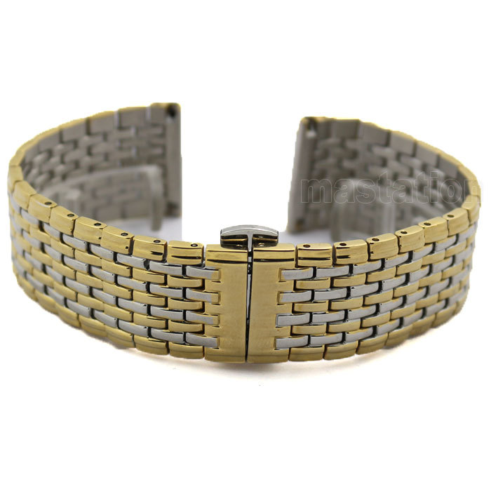 22mm Silver Golden Color Butterfly Buckle Wrist Quartz Watch Stainless Steel Band Strap Bracelet 2 * Spring Bars GD013222<br><br>Aliexpress