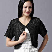 2017 Summer Thin Embroidery Short Sleeve Lace Mesh Cardigan Crochet Shrugs For Women Mujer Casual Korean Small Cape(China)