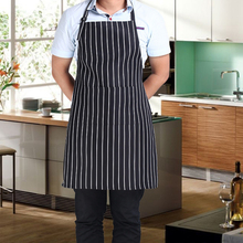 Fashion Restaurant Waiter Chef Apron Stripe Grid Apron With 2 Pockets Kitchen Water-proof Apron