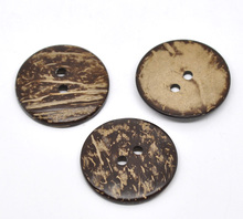 FUNIQUE 20PCs Coconut Shell Buttons Decorative Button For Scrapbooking Children Cloth 2 Holes Sewing Tool Flatback Round 50mm