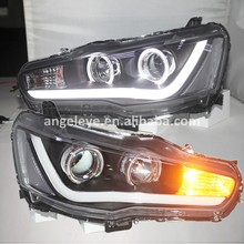 For Mitsubishi Lancer Exceed 2008-2013 Year LED strip Head Lamp headlights balck housing YZ(China)