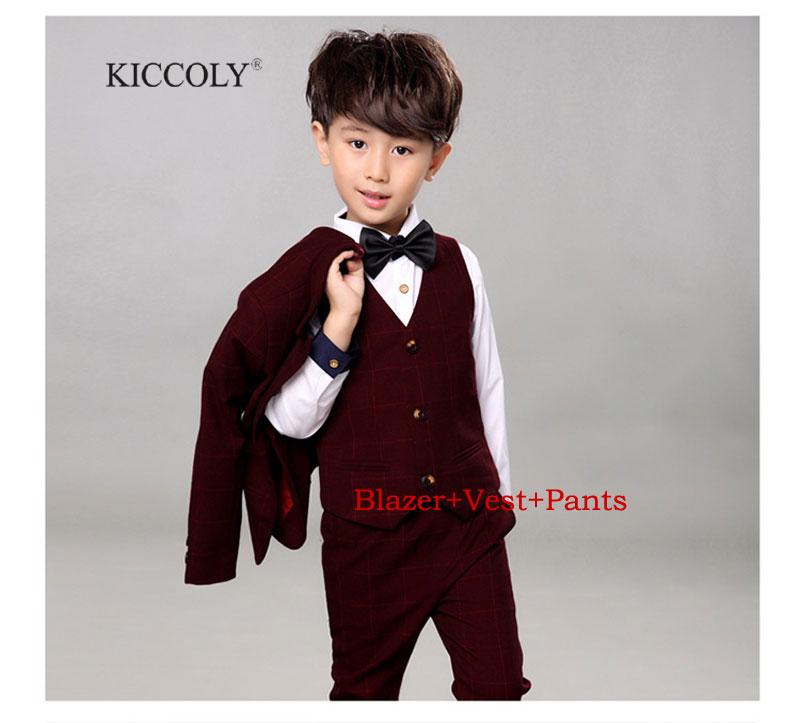 New 2017 Kids Plaid School Suit for Boys England Style Boys Formal Wedding Blazer Suit Boys Performance Suit Party Tuxedos 2-12T<br>