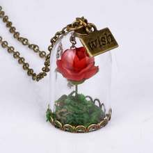 2017 Red Rose Crystal Pendant Necklace for Women Gift ,Glass Dried Flower Wishing Bottle Beauty and the beast Necklace Wholesale