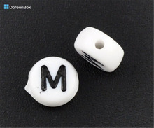 "Doreen Box hot- 500Pcs Acrylic Alphabet/Letter ""M"" Flat Round Spacer Beads 7mm(B08340)(China)"