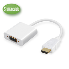 Shuliancable HDMI to VGA Female Adapter Digital to USB Analog Audio Converter 3.5mm Audio Cable for Xbox 360 PS4 PC Laptop TVBox(China)