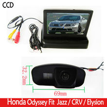 HD car camera Rear View Reverse color parking CCD Camera with 4.3 Inch foldable LCD Monitor For Honda CRV CR-V Odyddey Fit Jazz(China)