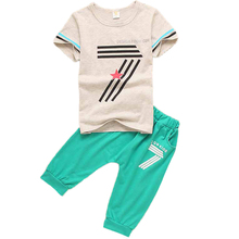 Brand Numeral Pattern Boys Clothing Sets 2017 Summer Children Clothing 2Pcs T-shirt+Harlan Shorts Boys Sports Suit Boys Clothes