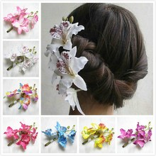 Women's flower headband Hair Clip Butterfly Orchid Barrette Pin Bridal Wedding Prom Party Hair Accessory