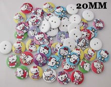 WB0105 100pcs mixed 20mm wood buttons hello kitty printed children clothes button garment accessories(China)